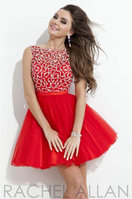 Rachel Allan 6690 - $318.00. beaded. highneck. tulle. puffy. skirt. short. red. dress