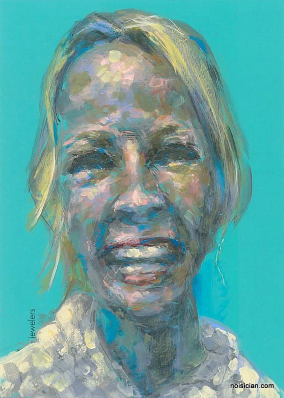 Kristy, by Jeff Wrench. Acrylic on paint chip.   Stop by for a chance to get painted! http://noisician.com