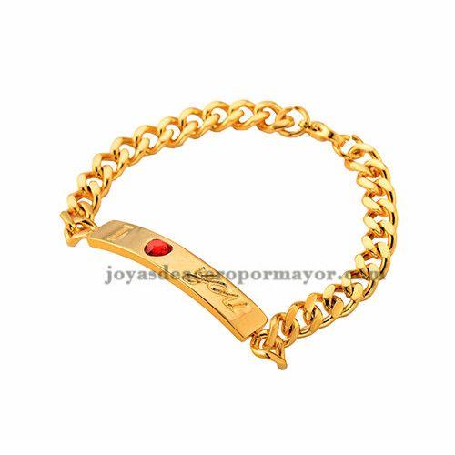 cadena de esclavo con brillo en acero inoxidable color oro dorado -SSBTG382281