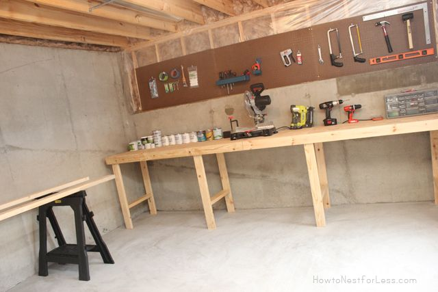 basement workshop bench--use that big blond desk top to make a basement bench
