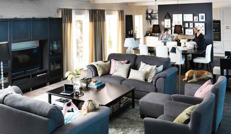 Гостиная, холл в цветах: бирюзовый, черный, серый, светло-серый, белый. Гостиная, холл в стиле скандинавский стиль.