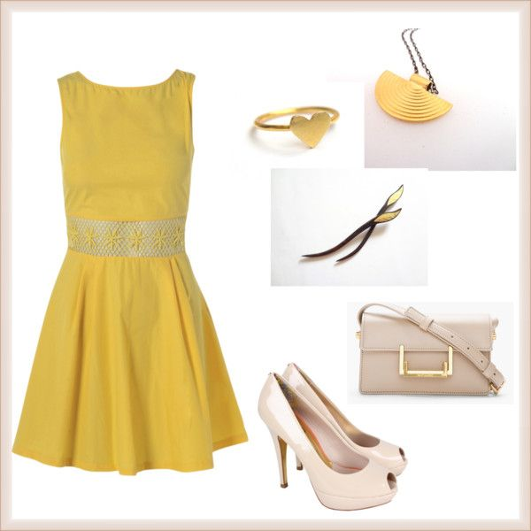 """""""Yellow and Beige!"""" by efzin on Polyvore"""