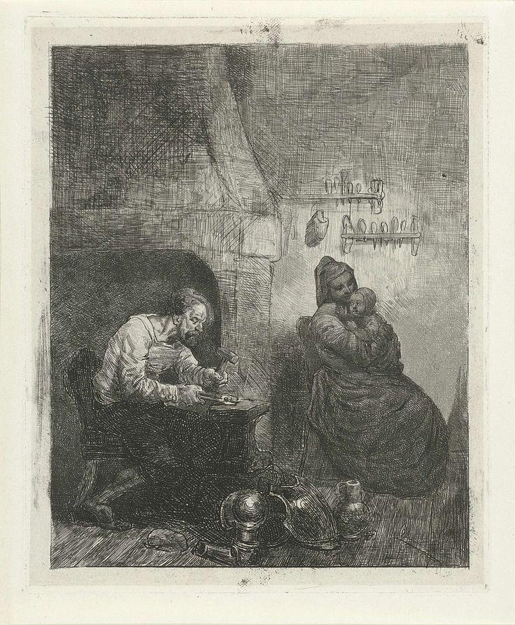 Reinier Craeyvanger | Wapensmid aan het werk, Reinier Craeyvanger, 1822 - 1880 | Een wapensmid zit op een stoel voor een aambeeld en bewerkt met een hamer een voorwerp dat hij in een tang vasthoudt. Naast het aambeeld liggen delen van een harnas. Achter hem een haard. Rechts zit zijn vrouw met een kind in de armen.
