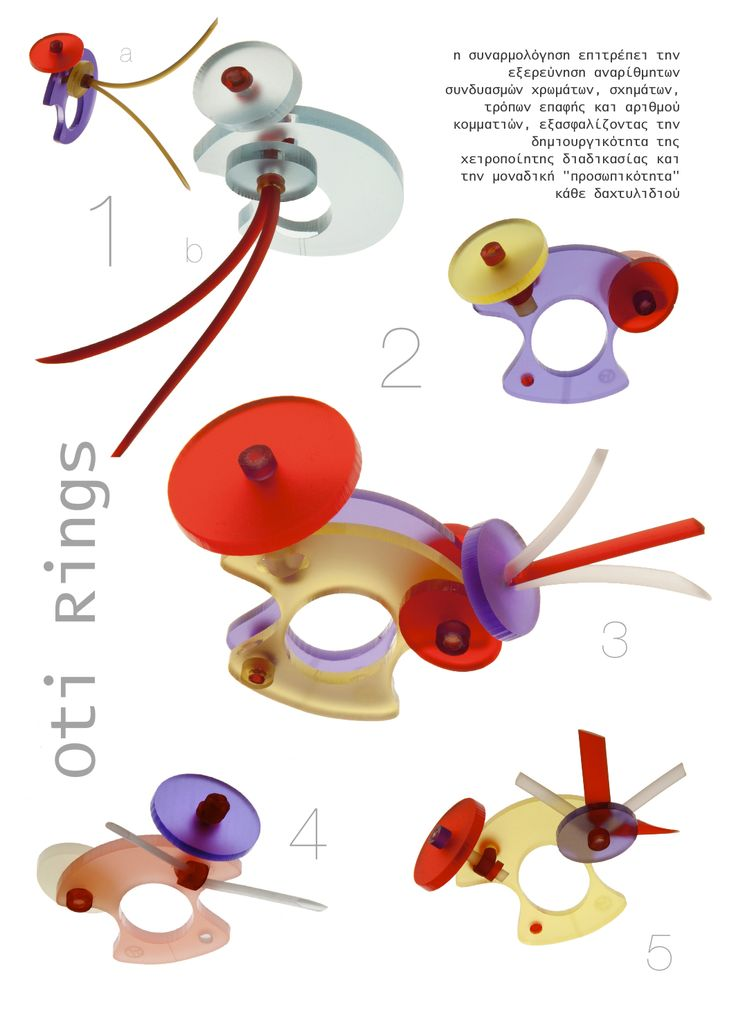 Various assemblies on a designed standard base, Rings by E. Georgakopoulos, 2012.