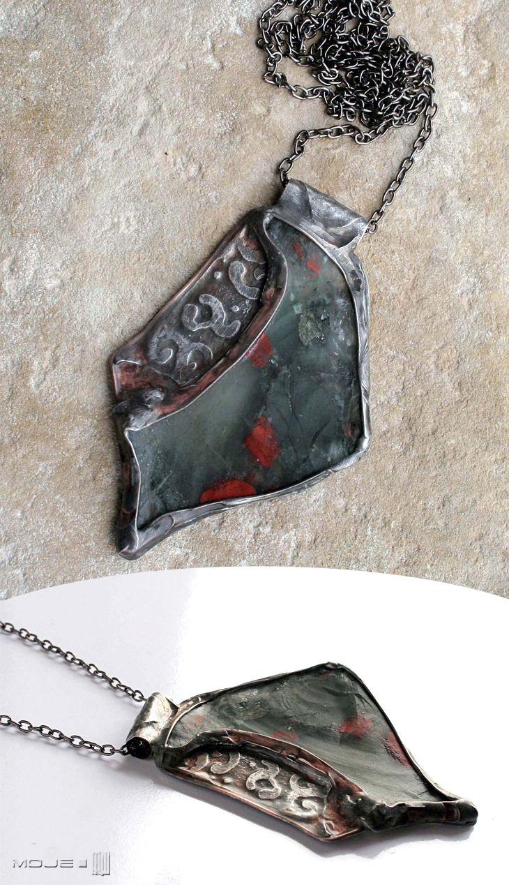 Grot z włóczni walkirii. Wisior / Pendant. Kamień naturalny jaspis ocean / Natural stone Ocean Jasper. Moje MW