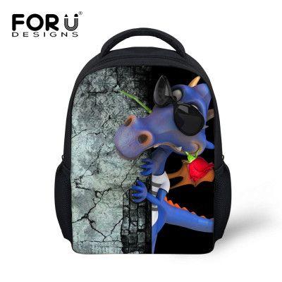 FORUDESIGNS Small 12'' Baby Boys School Bag Frog Alligator Children Schoolbag for Girls Cute Kids Kindergarten Book Bags Mochila
