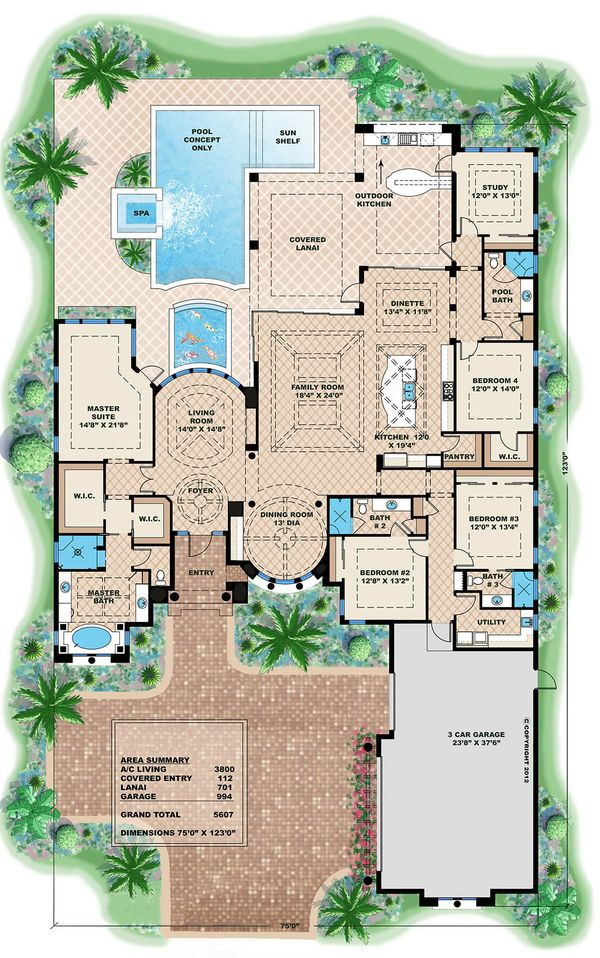 Mediterranean Style House Plan - 4 Beds 4 Baths 5607 Sq/Ft Plan #27-454 Floor Plan - Main Floor Plan - Houseplans.com