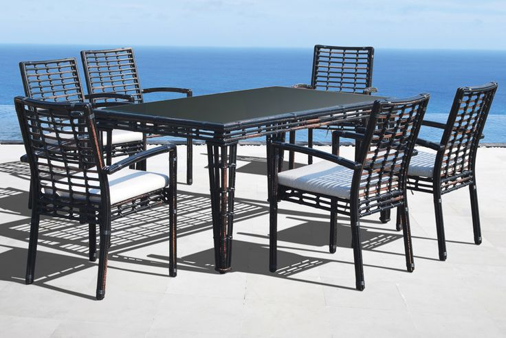 Skyline Design Miami 7 Piece Rectangular Dining Set in Black Mushroom