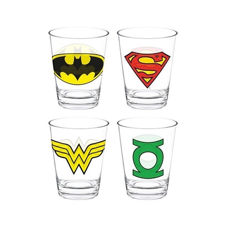 Jogo de copo de vidro 4/P Logo herois- DC Comics  CATALOGO -Copos, Térmicos e Squeezes   Copos, Térmicos e Squeezes  Loja de Presentes Criativos e Divertidos