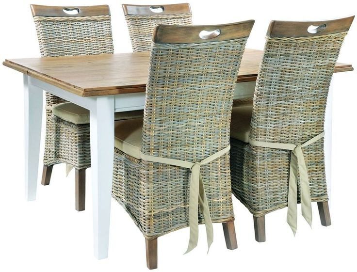 Rowico Lulworth White Brush Dining Set With 4 Vivetto Split Kooboo Grey  Wash Chairs With Cushion