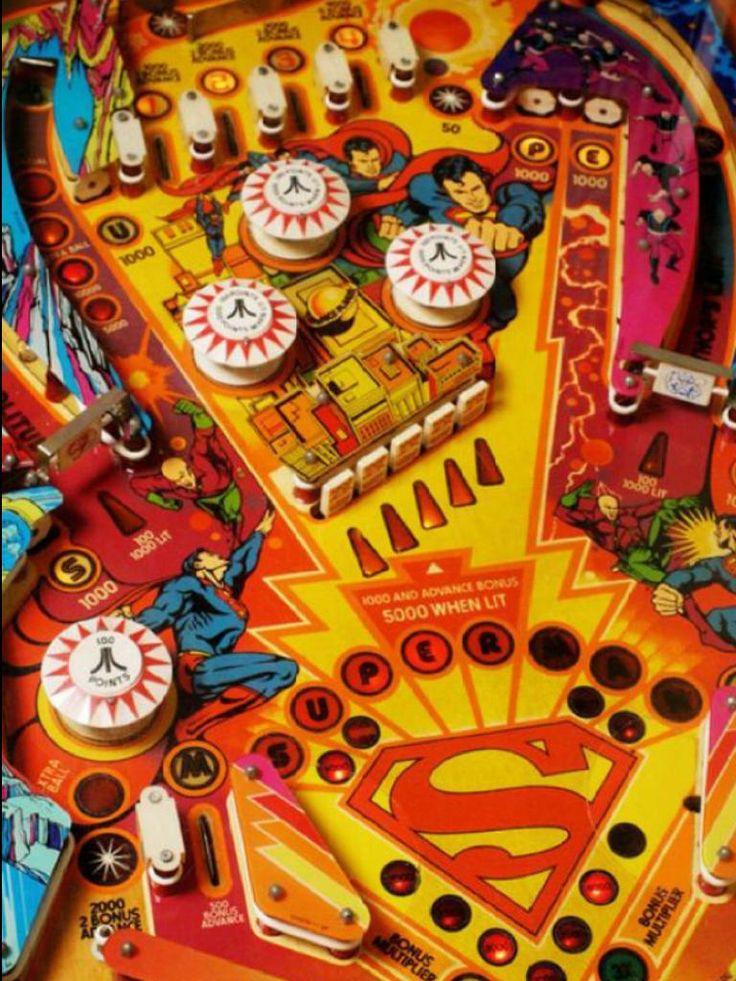 "Atari ""Superman"" piball machine playfield. Atari tried to break into the pinball market from video games"