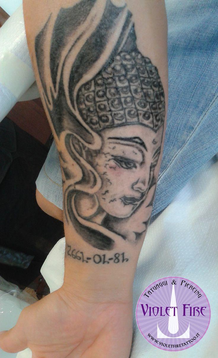 tatuaggio religioso, tatuaggio etnico, tatuaggio grande, tatuaggio artistico - Tatuaggio Volto di Buddha su braccio - Violet Fire Tattoo - tatuaggi maranello, tatuaggi modena, tatuaggi sassuolo, tatuaggi fiorano - Adam Raia