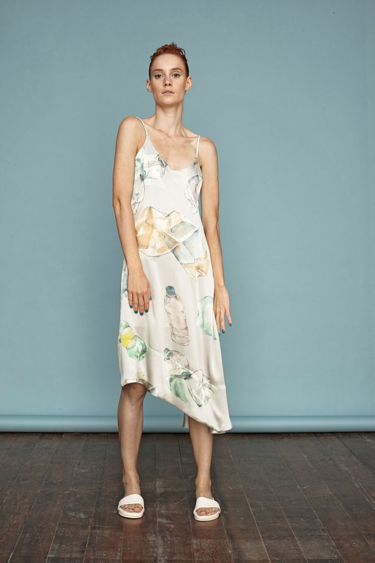 Hand-painted bottle print on asymmetrical silk dress from Dori Tomcsanyi. #doritomcsanyi #ss15 #collection #handpainted #digitalprint