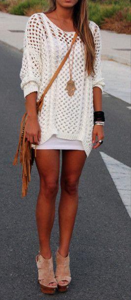 dress crochet knit sweater oversized white tunic crochet tunic comfy long sleeve slip oversized sweater jewels shoes blouse dress shirt