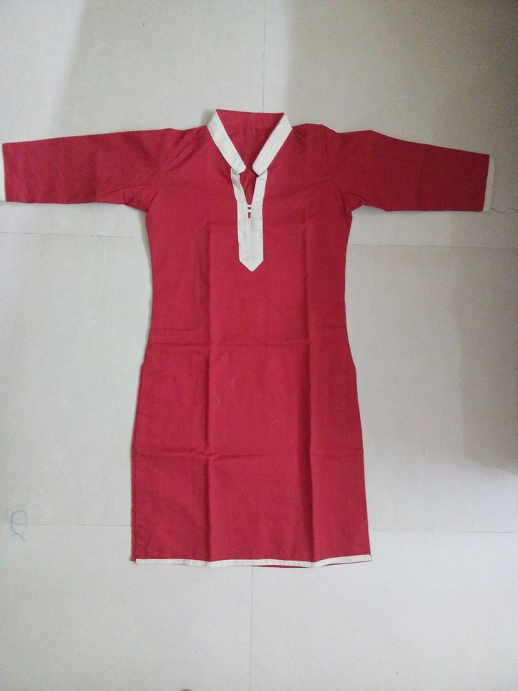 Red Full sleeve top with cream color collar