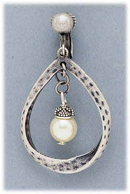 Simply Whispers hypoallergenic and nickel free Jewelry Earrings clip on antiqued silver teardrop with pearl