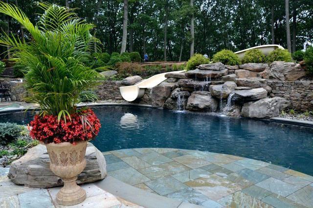 Waterfalls Into Swimming Pools Waterfall Swimming Pools Designs Swimming Pool Waterfalls Traditional Pool Waterfalls Around Swimming Pools