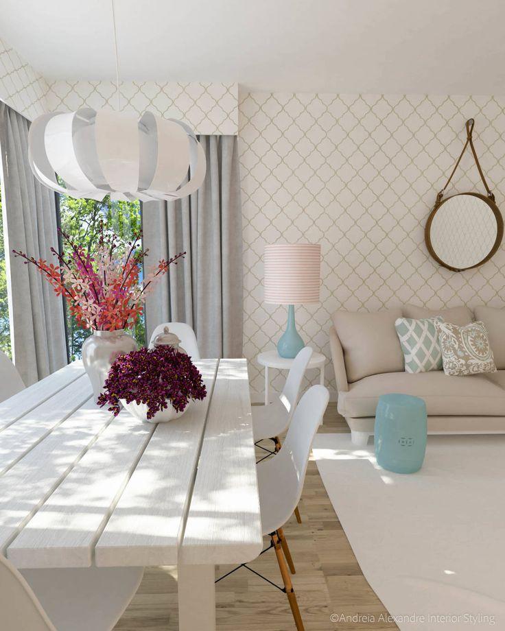 Projeto Decoração Sala - Pantone Colors 2016 : Salas de estar ecléticas por Andreia Alexandre Interior Styling