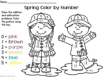 Spring Color by Number Addition & Subtraction Within 10
