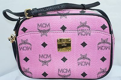 MCM Women's Logo Crossbody Heritage Visetos Bag Leather Pink Handbag NWT