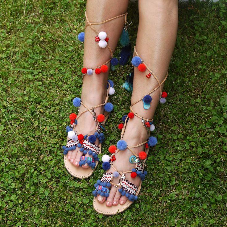 "Tie Up Gladiator Sandals, Boho sandals, Pom pom Sandals,Greek Leather Sandals,Handmade Strappy Sandals, ""Thalia"""