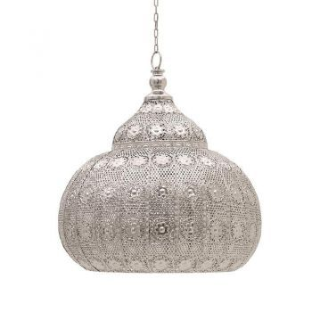 Lustră orientală Silver Arabesque - aceasta lustra cu stil unic va aduce in casa ta farmecul povestilor orientale #ceilinglamps #lamps #homedecor #DecoStores #amenajariinterioare #iluminat #corpuriiluminat #lustre