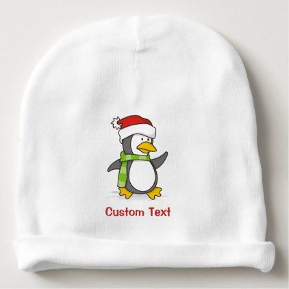 Christmas penguin walking on snow baby beanie - winter gifts style special unique gift ideas