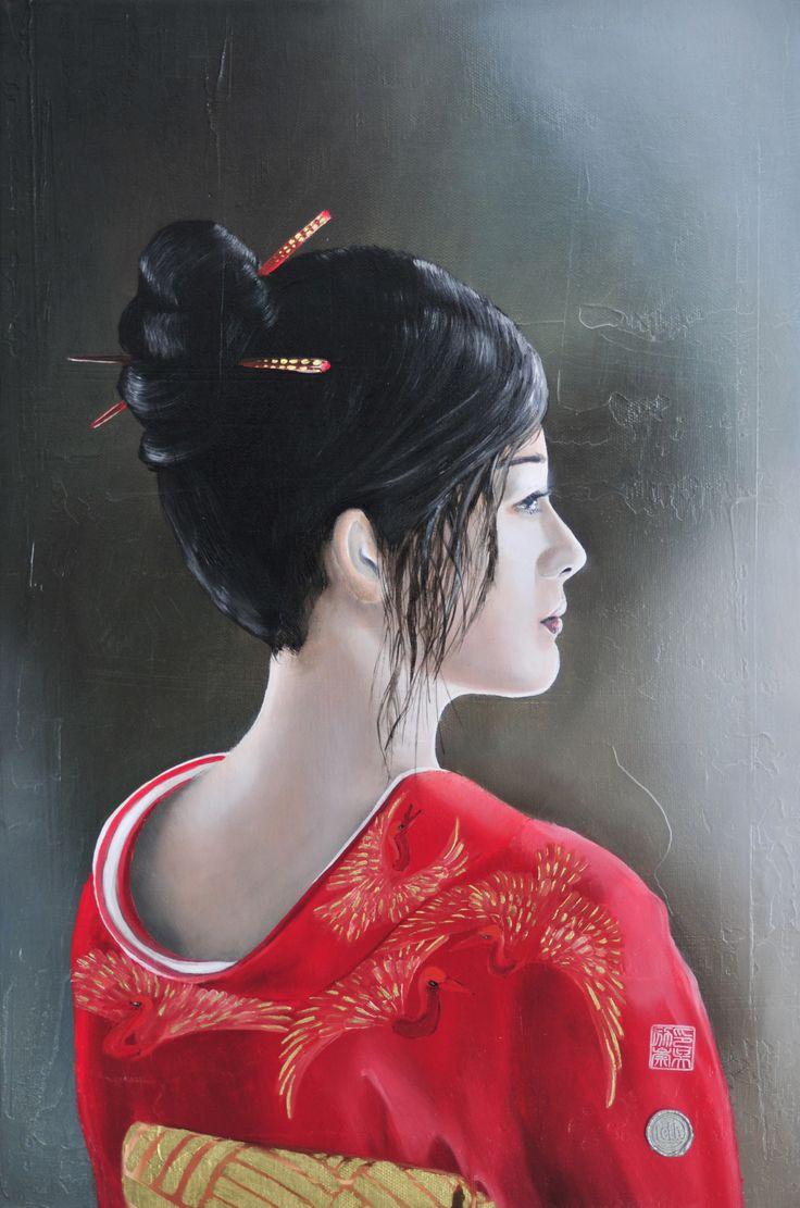 "Painting ""Listen to the Shakuhachi"", oil on linen, 60*40 cm"