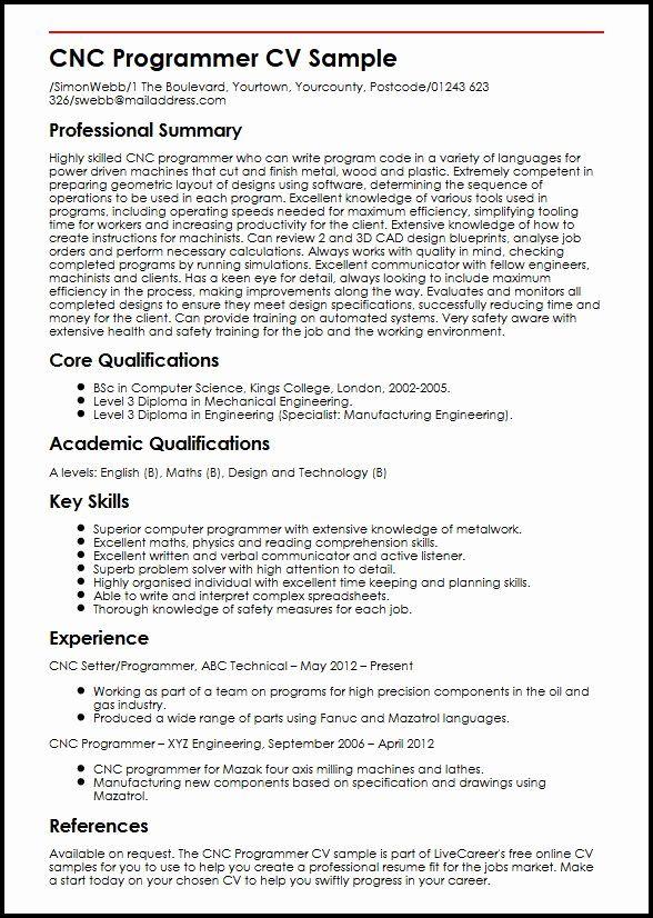 Cnc Machine Operator Resume New Cnc Programmer Cv Sample In 2020 Job Resume Samples Sample Resume Cnc Programmer