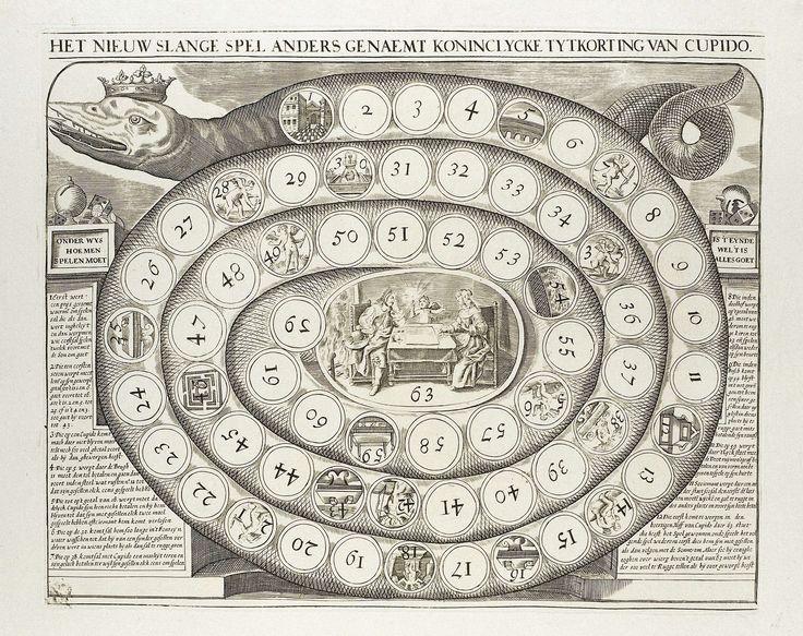 Anonymous | Het nieuw slange spel anders genaemt koninclycke tytkorting van Cupido, Anonymous, 1700 - 1799 | Spiraalvormig bordspel met linksboven de kop van de slang voorzien van een kroon, rechtsboven zijn staart. Over de hele slang ronde vakjes genummerd van 1 tot en met 63, enkele met voorstellingen van putti. In het midden een ovaal met afbeelding van een paar aan tafel met Cupido in het midden. Links- en rechtsonder de spelregels.