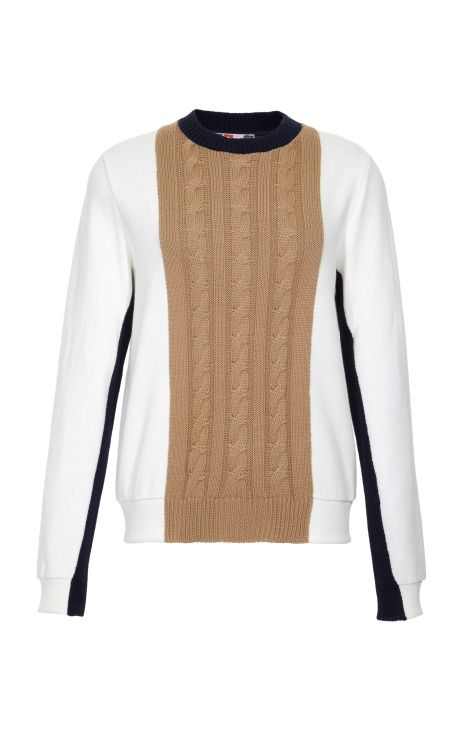 Cotton Blend Sweatshirt with Cable-Knit Detail by MSGM Now Available on Moda Operandi