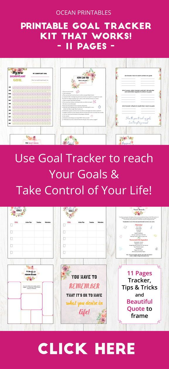 Productivity and Success Planner, Goal Worksheet, Life Planner Goal