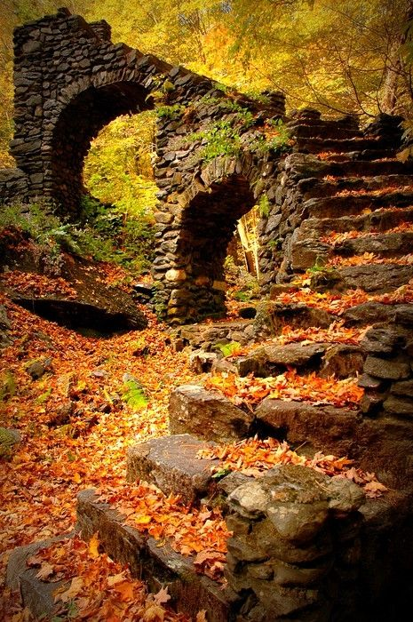 Old stone steps, wall and bridge with autumn leaves - the remains