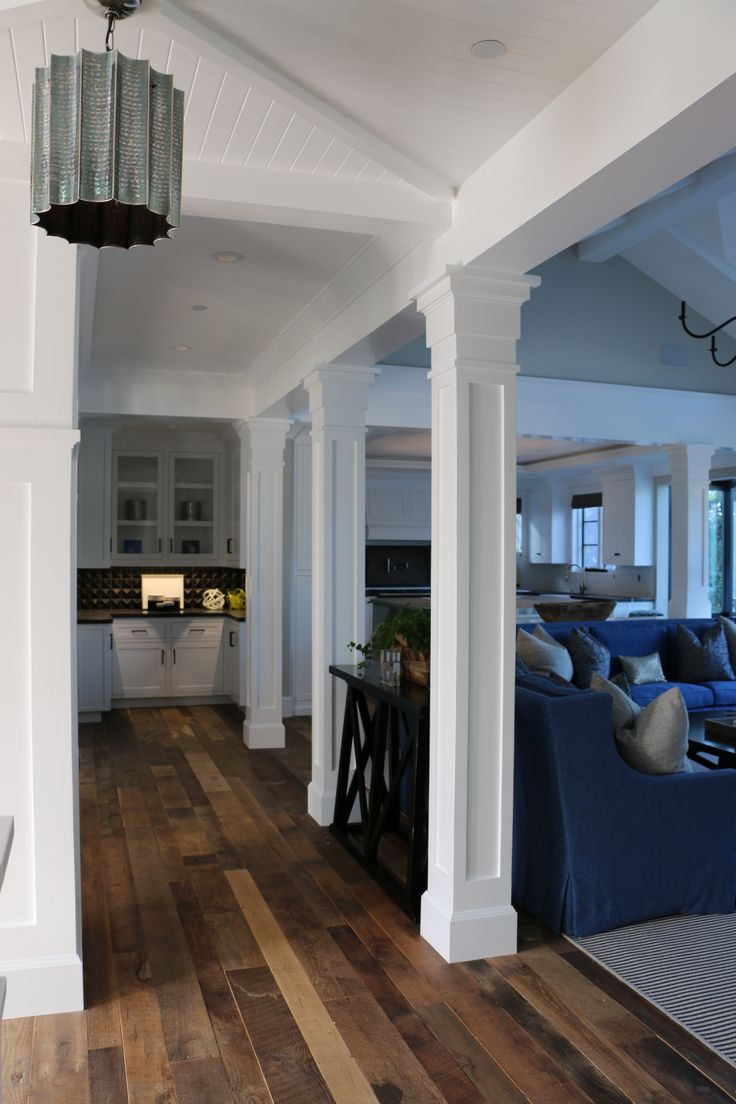 Columns family room traditional with area rug seating area wood floor - Great Room Millwork Reclaimed Wood Floors