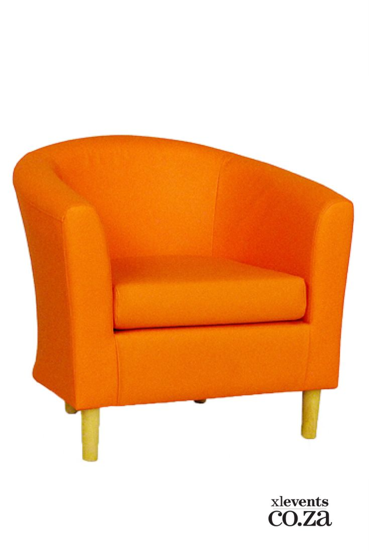 Orange Tub Chair available for hire for your wedding, conference, party or event. Browse our selection of chairs and furniture in our online catelogue.