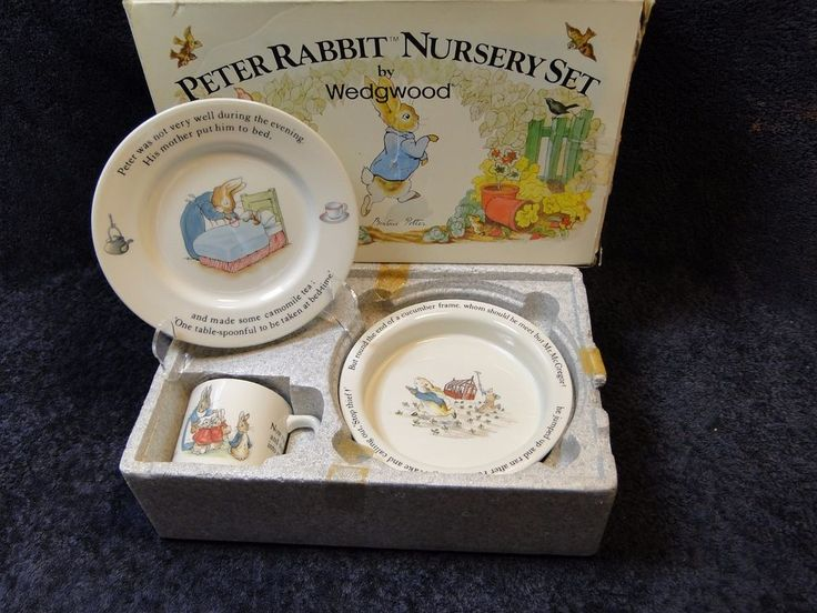 29 99 Wedgwood Peter Rabbit Nursery Set In Orig Box Vintage Beatrix Potter Excellent A