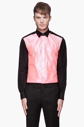 LANVIN Fluorescent pink sheer paneled shirt