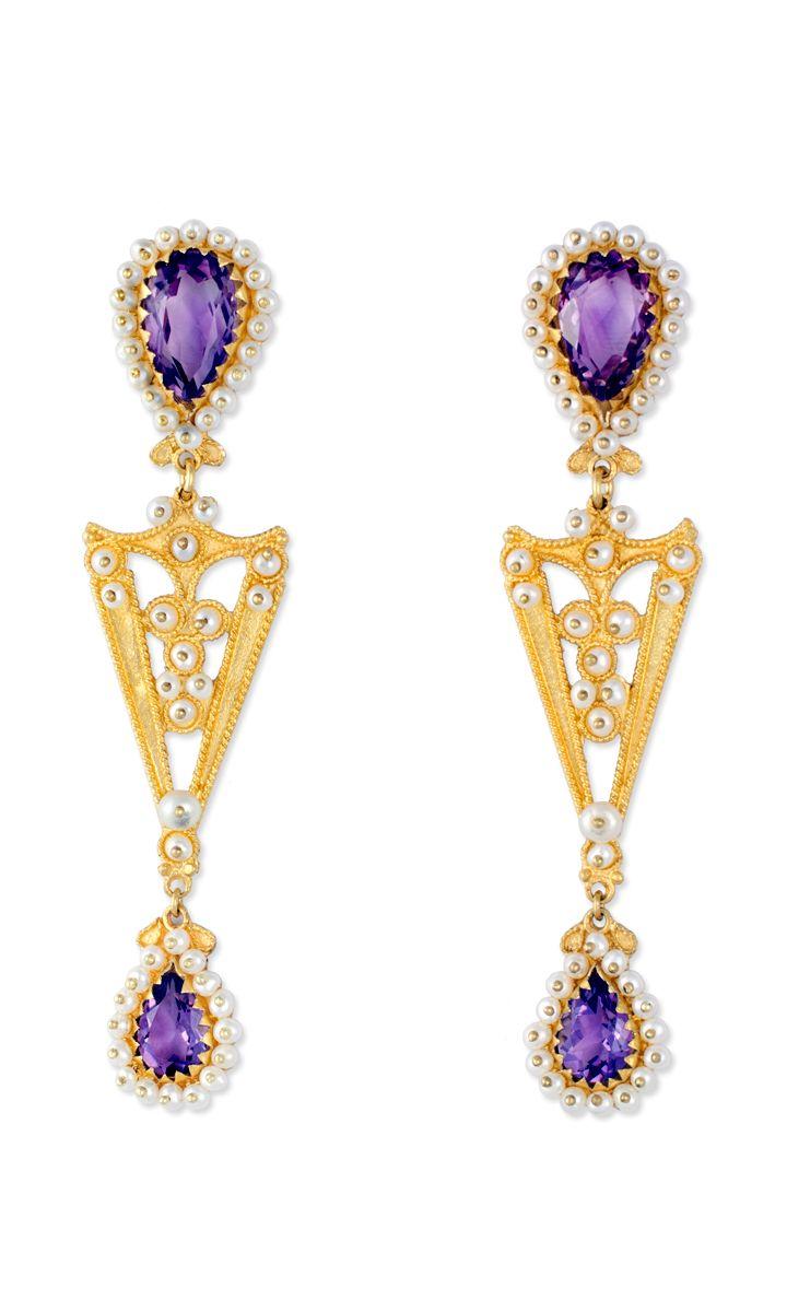 Beautiful 18K gold filigree earrings with Amethysts  loredanamandas.com