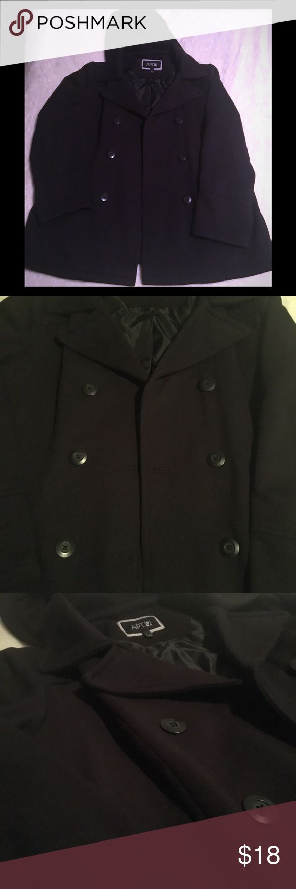 Women's black pea coat Size large. Medium weight. Lined and only worn a few times. Hood is detachable. Apt. 9 Jackets & Coats Pea Coats