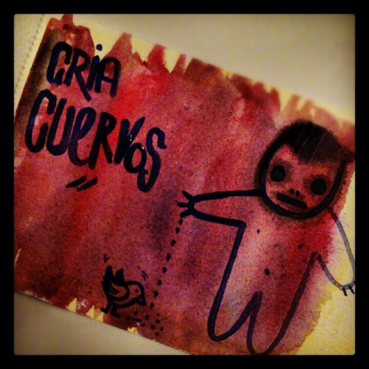 Cria cuervos.  Acuarela by @qbrufau  http://instagram.com/qbrufau/