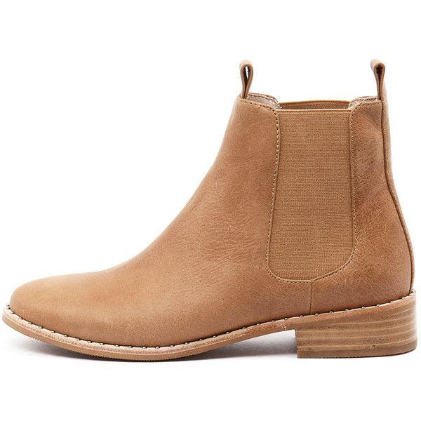Mollini Fenny Tan Leather (615 AED) ❤ liked on Polyvore featuring shoes, boots, ankle booties, short boots, leather bootie, tan boots, faux-leather boots and ankle boots