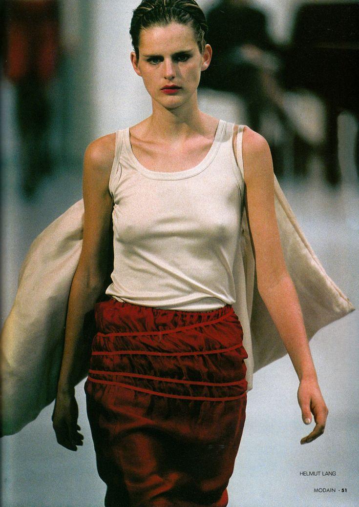 Stella Tennant walking for Helmut Lang, 1995