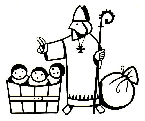 St Nicholas with bag and tub coloring page
