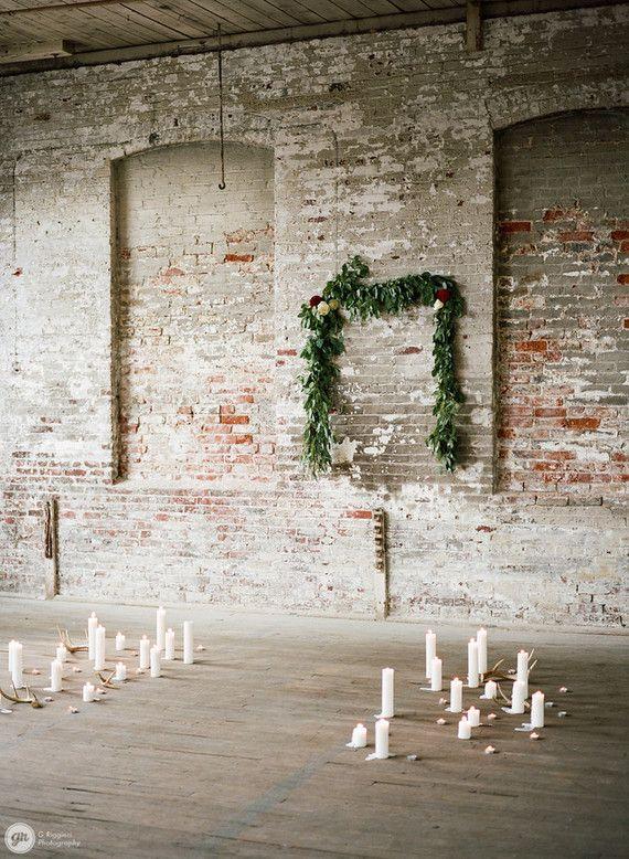 Industrial winter wedding ceremony