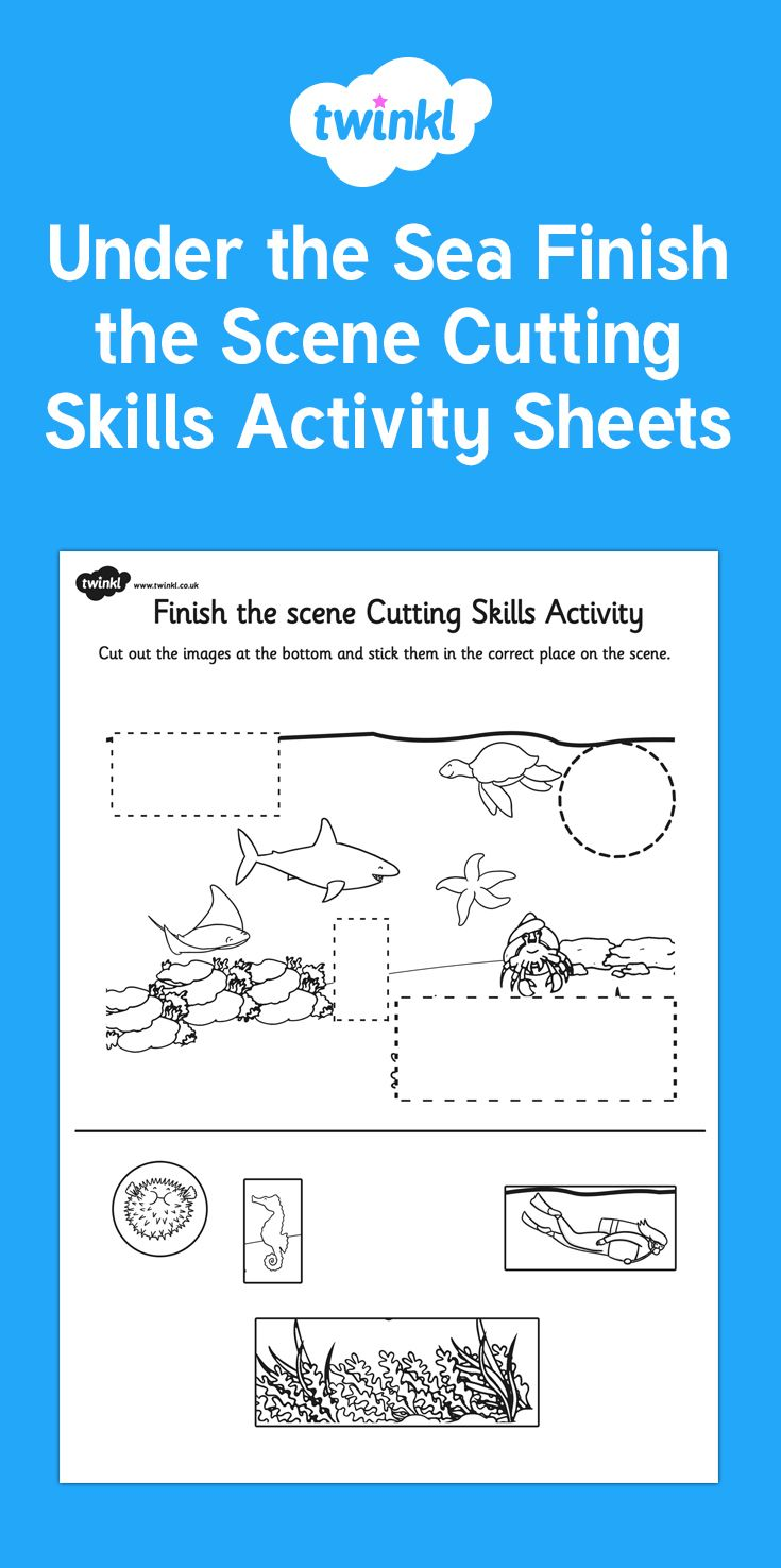 Colouring in sheets twinkl - Under The Sea Finish The Scene Cutting Skills Activity Sheet Pack This Excellent Resource Is A 1000 Images About Early Years On Pinterest People Who Help