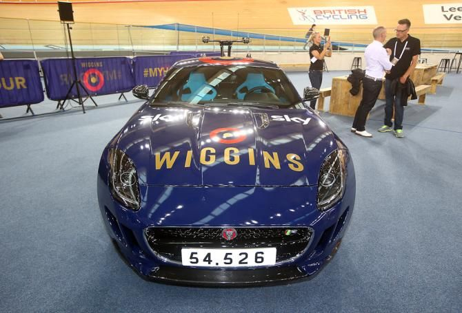 Team Wiggins F-type is seen with Sir Bradley Wiggins of Great Britain and Team Wiggins' world record on the number plate after he broke the UCI One Hour Record at Lee Valley Velopark Velodrome