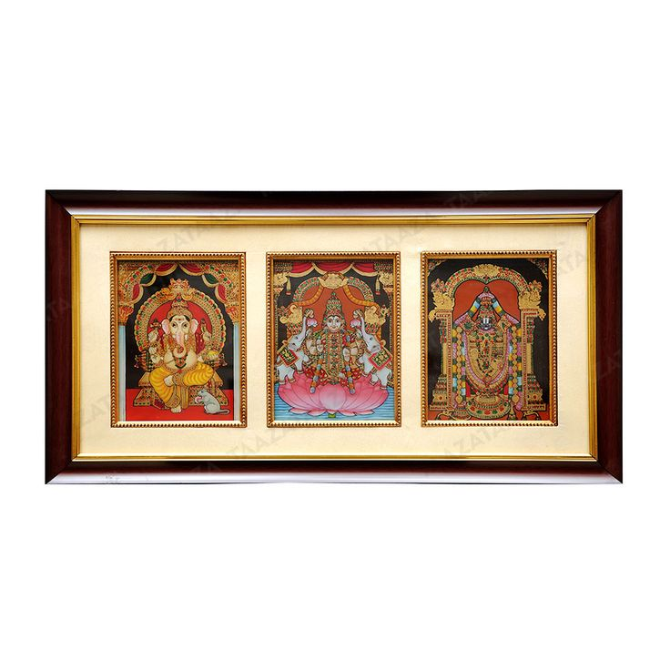 Ganesh Lakshmi Balaji | Glass Painting |  Material: Glass Other Material: Glass colors, Gold powder Dimensions( LxW): 24X16 Inches Package Contents: 1 Ganesh Lakshmi Balaji Painting