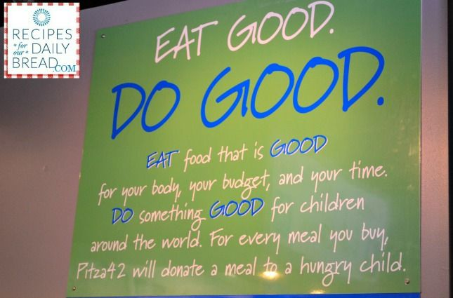 "Pitza 4 2 in Arkansas-Feed yourself & someone from another country.  When you eat at Pizza 4 2, they donate a meal to a hungry child. They call it ""Eat Good  Do Good""!  What a great idea for a restaurant.  Read more and see pictures at http://recipesforourdailybread.com/2013/08/31/pitza-4-2-in-ar-eat-good-do-good/ #hungry children #restaurants @Arkansas Tourism @Luiza @ARWomenBloggers . @Kathy Myers @Lolli Gonzales"