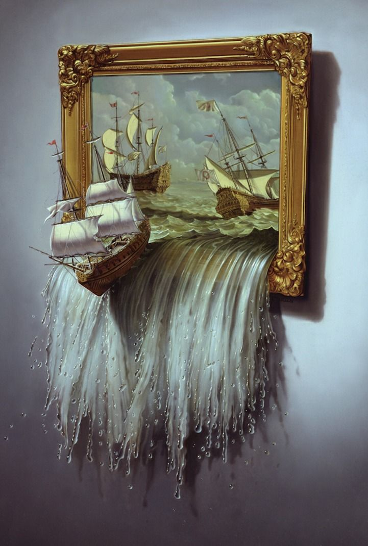 Tim O'Brien paints portraits and satirical illustrations for magazines such as Time and The Atlantic Monthly. Here we see his Surrealist side. #boat #fantasy_art #maritime #ocean #sailboat #sailing_ship #sea #ship #splash #surreal #surrealism #surrealist #tim_o'brien #wave