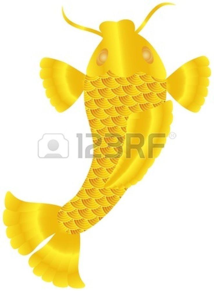 Peces Koi japonés o carpa china con escamas de oro y la Ilustración Aletas Aislados en fondo blanco Foto de archivo